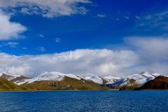 Tibet snow mountain lake Stock Photo