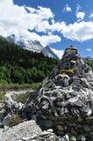 Tibet snow mountain with Mani Dui Stock Photography