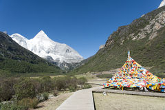 Tibet snow mountain with Mani Dui Royalty Free Stock Photography