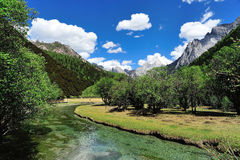 Tibet snow mountain with river Stock Photography