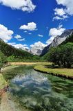 Tibet snow mountain with river. China Royalty Free Stock Images