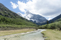 Tibet snow mountain with river Royalty Free Stock Photos