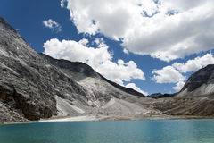Tibet snow mountain with river. In China Royalty Free Stock Images