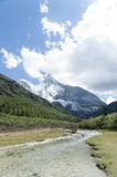 Tibet snow mountain with river. In China Stock Images