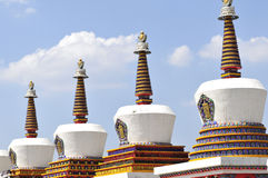 Tibet stupa. Stupa in tibet temple, white tower Stock Images