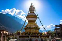 Tibet stupa in Himalayas mountains, North India. Picture taken during bicycling trip in autumn. Himalayas, India Stock Photography
