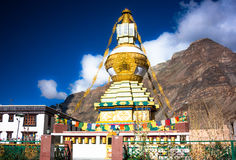 Tibet stupa in Himalayas mountains, North India. Picture taken during bicycling trip in autumn. Himalayas, India Stock Images