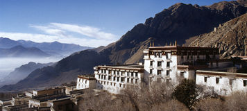 Tibet Temple. Panorama of the old buildings in the Buddhist Drepung Monastery, Tibet royalty free stock photos