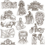 Tibet. Travel - Pictures of Life. Hand drawings. Stock Photo