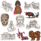 Tibet. Travel - Pictures of Life. Hand drawings. Stock Photography