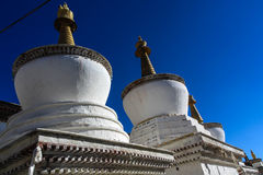 Tibet Twin White pagoda Stock Image
