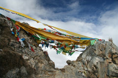 Tibet's flags Stock Photography