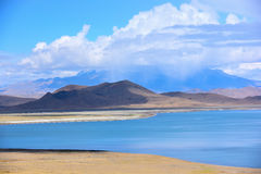 Tibet Yamdrok lake snow mountain lake Yangzhuoyongcuo. Yamdrok lake(Yangzhuoyongcuo) 2016 in Tibet, the sunset, the snow-capped mountains, clear lakes, the sheep Stock Photo
