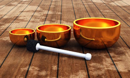 Tibet - ZEN Singing Bowl 09. 3 3D golden singing Bowls on wood vector illustration