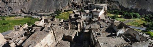 Tibetaans traditioneel dorp van Lamayuru, klei uitstekende huizen onder de bergen, bomen, Ladakh, Noordelijk India Royalty-vrije Stock Fotografie
