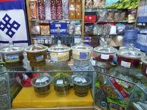 Tibetaanse apotheek in Lhasa stock afbeeldingen