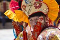Tibetaanse boeddhistische monnik tijdens Hemis-Festival in Ladakh, Noord-India Stock Foto's