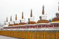 Tibetaanse Chorten Stupa in Kumbum-Klooster royalty-vrije stock foto