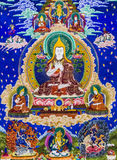 Tibetaanse de muurgrafieken van thangkasboedha Stock Foto's