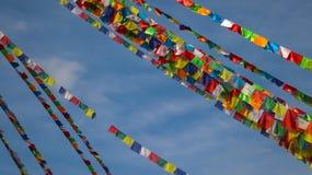 Tibetaanse gebedvlaggen in Nepal royalty-vrije stock afbeeldingen