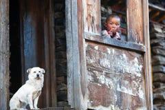 Tibetaanse jongen, Nepal Royalty-vrije Stock Afbeelding