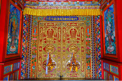 Tibetaanse Langmusi-tempel binnen Royalty-vrije Stock Fotografie