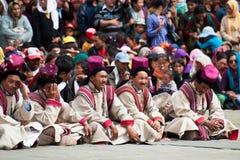 Tibetaanse musici die volksmuziek spelen stock fotografie