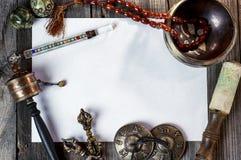 Tibetaanse muzikale instrumenten voor meditatie royalty-vrije stock afbeeldingen