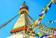 Tibetaanse vlaggen in Boudhanath Stupa, Nepal Royalty-vrije Stock Foto
