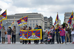 Tibetan activists demonstrate in Brussels. Activists of Tibetan Community demonstrate for freedom of Tibet on Place de l'Albertine on September 15, 2013 in Stock Photography