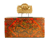 Tibetan ancient box isolated  Stock Images