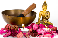 Tibetan bowl and Buddha Royalty Free Stock Photos
