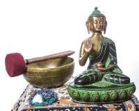 Tibetan bowl with buddha Royalty Free Stock Photo