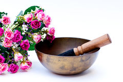 Tibetan bowl with pink roses Stock Images