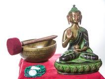 Tibetan Bowl With Buddha Stock Images
