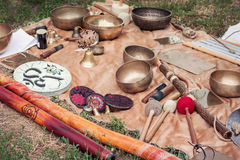 Tibetan bowls and other musical instruments Royalty Free Stock Photos