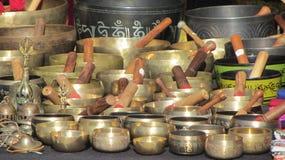 Tibetan bowls. Variety of  Tibetan bowls in the banking fair Stock Image