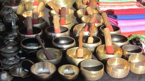 Tibetan bowls. Variety of  Tibetan bowls in the banking fair Royalty Free Stock Image
