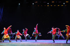Tibetan Boy Dance-The campus show. In December 27, 2014, the Department of dance of the students are for the annual graduation performance report in the jiangxi stock photography
