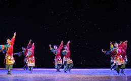 Tibetan Boy Dance-The campus show. In December 27, 2014, the Department of dance of the students are for the annual graduation performance report in the jiangxi royalty free stock photography