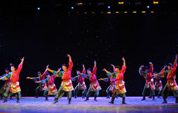 Tibetan Boy Dance-The campus show. In December 27, 2014, the Department of dance of the students are for the annual graduation performance report in the jiangxi stock images