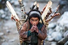Tibetan boy. LHO, GORKHA, NEPAL - NOVEMBER 29: Tibetan boy Lapsang, 10, with basket of firewood poses for a photo on the road to Lho village on November 29, 2009 Royalty Free Stock Photos