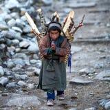 Tibetan boy, Nepal. LHO, GORKHA, NEPAL - NOVEMBER 29: Tibetan boy  with basket of firewood on the road to Lho village on November 29, 2009 in Gorkha District Royalty Free Stock Image