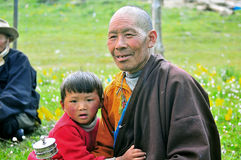 Tibetan Boys And his grandfather Stock Photos