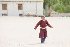 Tibetan boys involved in sports.  Druk White Lotus School. Ladakh, India Royalty Free Stock Image