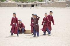 Tibetan boys involved in sports .  Druk White Lotus School. Ladakh, India Stock Photos
