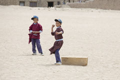 Tibetan boys involved in sports .  Druk White Lotus School. Ladakh, India Stock Image