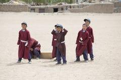 Tibetan boys involved in sports .  Druk White Lotus School. Ladakh, India Royalty Free Stock Images