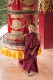 Tibetan boys, novice Buddhist monks. India. HEMIS, INDIA - SEPTEMBER 13: Unidentified tibetan boy, novice monk, student of Buddhist school at Hemis monastery stock image
