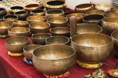 Tibetan brass bowl. Used for medicine relaxation Stock Photo